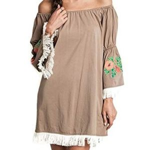 Umgee Bohemian Fringe Embroidered Tunic Dress